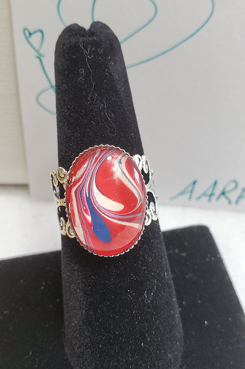 Artistic Acrylic Red/White/Blue Fancy Oval adjustable size ring-stainless steel
