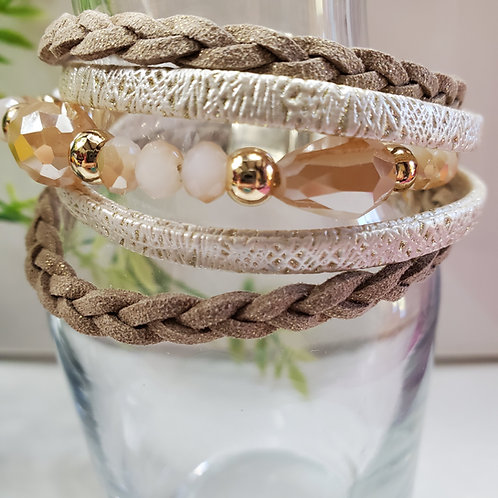 5 Strand Champagne Faux Leather Bracelet w/beads magnetic clasp