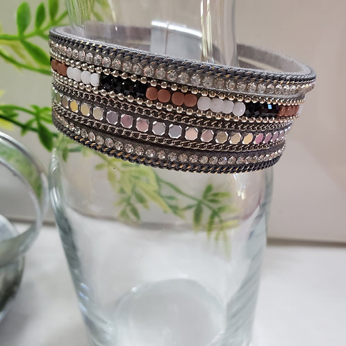 5 Strand Gray Faux Leather Bracelet w/beads magnetic clasp