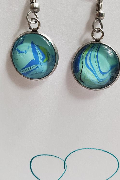 Artistic Acrylic Ocean Blue Fancy Dangle Earrings on silver-tone m