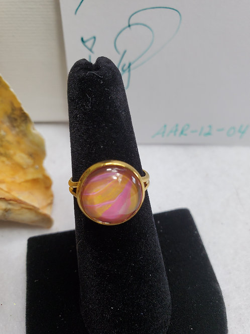 Artistic Acrylic Multi Pink small adjustable size ring-gold tone ovr s