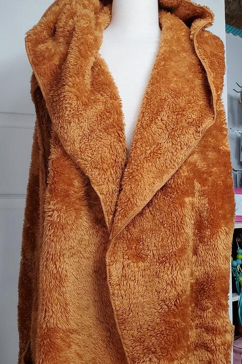 Desert Mustard color Faux Fur Hooded Vest
