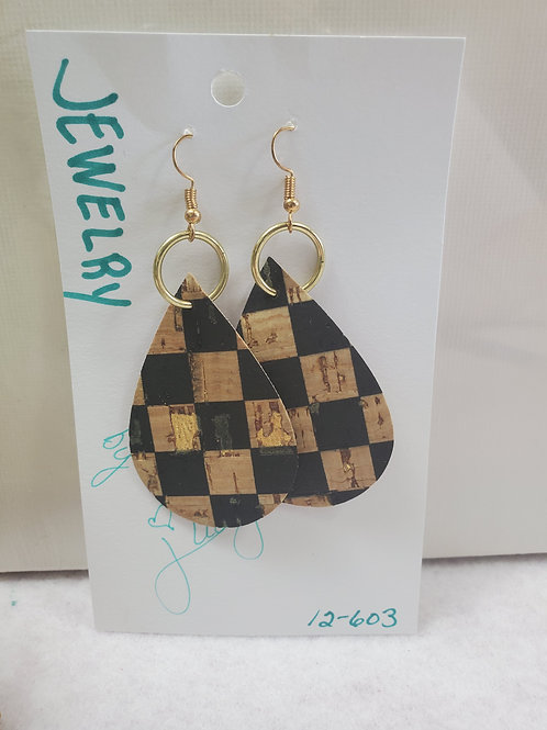 Tan and Black Checkered Cork Teardrop w/gold-tone wires