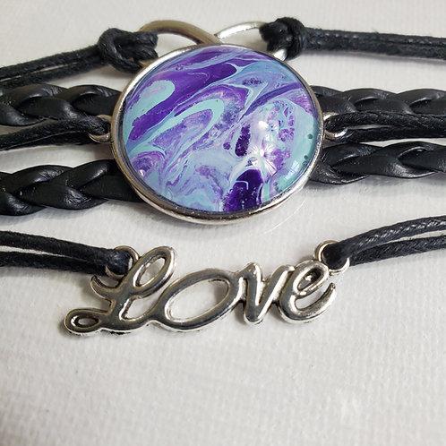 """Artistic Acrylic 7""""-9"""" black Multi-Strand adjustable multi purple Bracelet"""