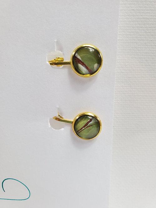 Artistic Acrylic Green/Bronze/Pearl CLIP-ON Earrings gold-tone metal