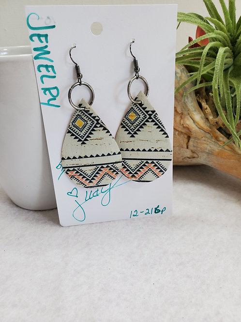 BOHO print-2 Cork Teardrop earrings w/pewter-tone wires