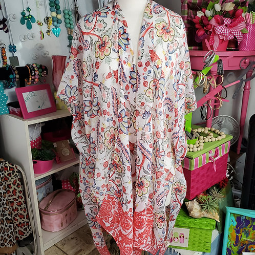 Lightweight Oriental Floral Multi-color Kimono