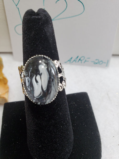 Artistic Acrylic Black/White Fancy Oval adjustable size ring-stainless steel