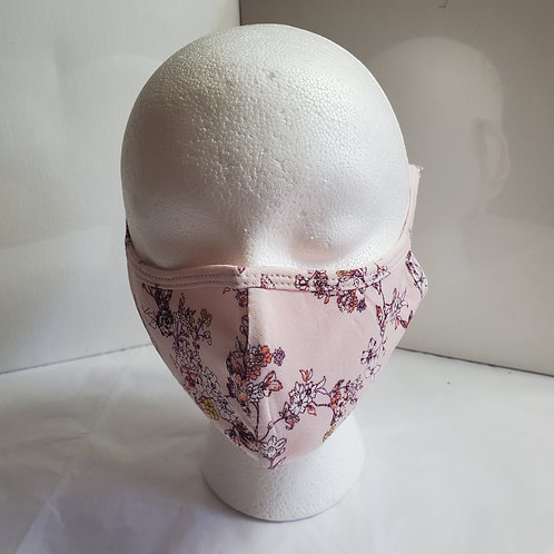 Cotton Face Mask /w Pink Flower Print Over the Ear