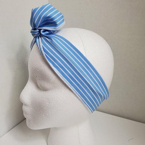 Light Blue w/White Stripes Wire-wrapped Headband