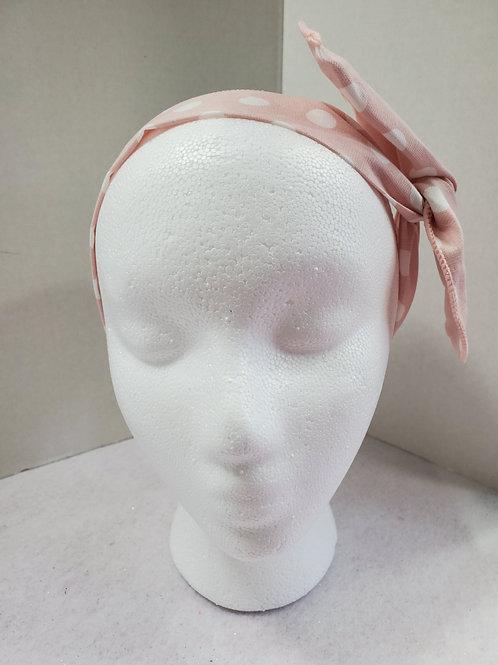 Pink w/White Polka Dots Wire-wrapped Headband