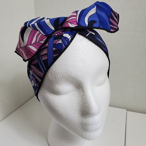 Tropical Print Blue/Navy/Pink Wire-wrapped Headband