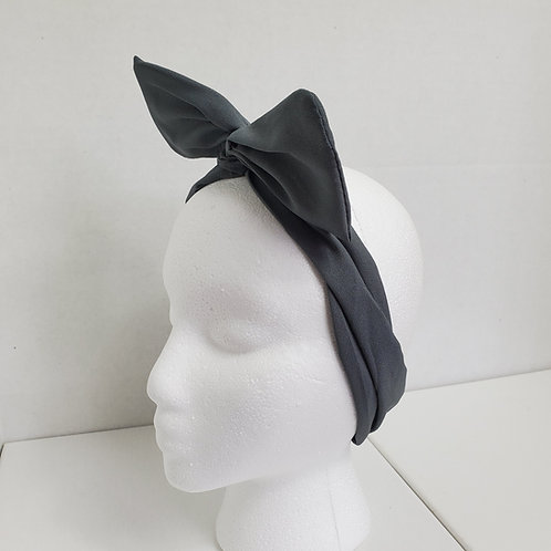 Gray Solid Color Crepe Bow-Tie end Wire-wrapped Headband
