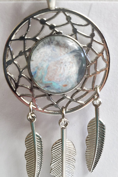 "Artistic Acrylic Bay Shore Dream Catcher necklace 12 1/2""black leather"