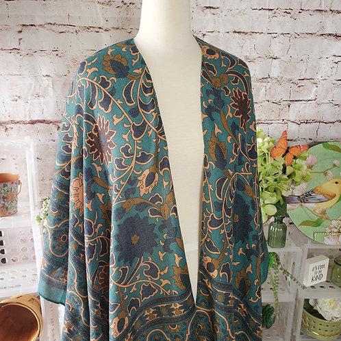 """""""Touch of Morocco"""" Emerald/Copper Tapestry Tassel Kimono"""