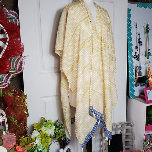 Yellow w/blue trim and tassels Kimono