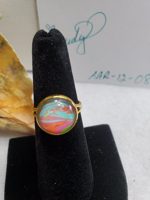 Artistic Acrylic Orange/Turquoise/Pink/Green small adjustable size ring-goldtone