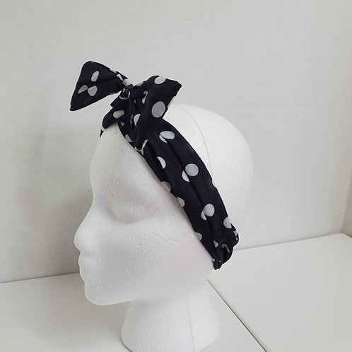 Navy w/white polka dots Color Brights Bow-Tie end Wire-wrapped Head