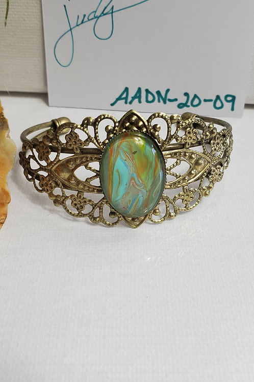 Artistic Acrylic Desert Natural Fancy Cuff Oval Bracelet on Antique Bronze-tone