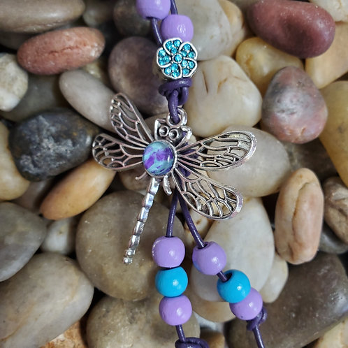 Blue/Purple dragonfly key chain with custom beads and gem flower w/purple