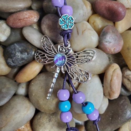 Blue/Purple dragonfly key chain with custom beads and gem flower w/purple