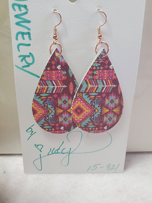 Aztec Print in pink/teal/purple leather Teardrop w/copper-tone wires
