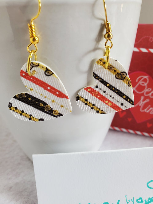 White w/stripe effect Faux Leather Hearts with gold-tone wires