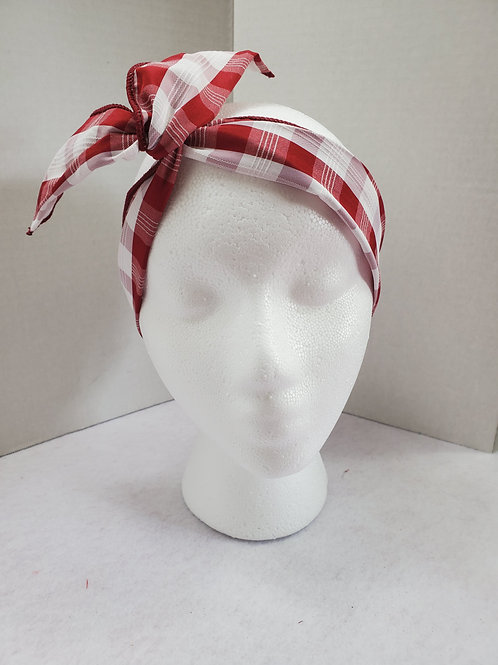 Red w/white plaid Wire-wrapped Headband