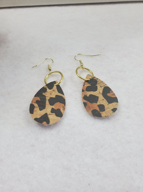Animal Print Faux Leather teardrop w/gold-tone wires