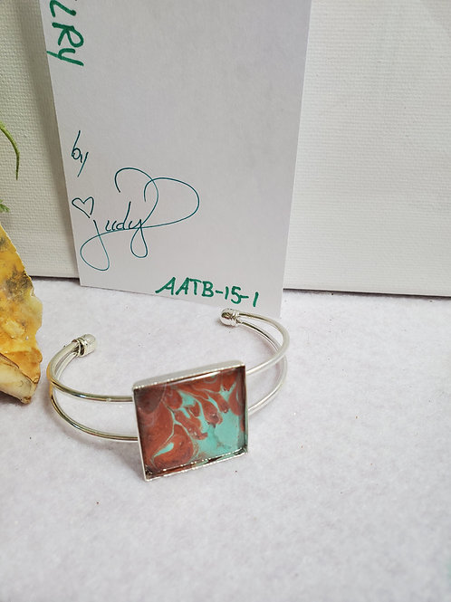 Artistic Acrylic Bronze/Turquoise Square Cuff Bracelet on Silver-tone metal