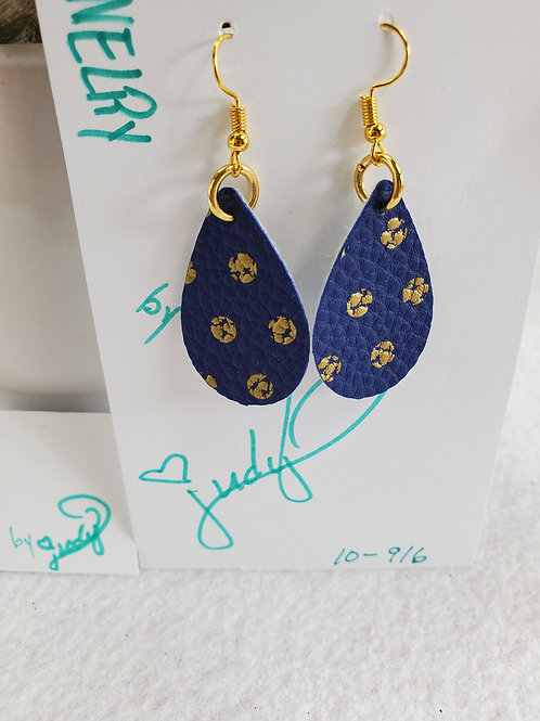 Navy w/ gold dots leather teardrop with gold-tone wires