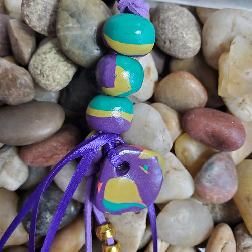 Purple/Teal/Green key chain with custom beads and pendant w/purple suede cord