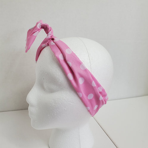 Pink w/white polka dots Color Brights Bow-Tie end Wire-wrapped Head