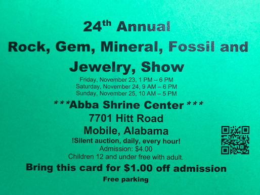 24th Annual Rock, Gem, Mineral, Fossil and Jewelry Show, Mobile, AL