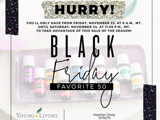Young Living Black Friday 20% off 50 best-loved essential oils