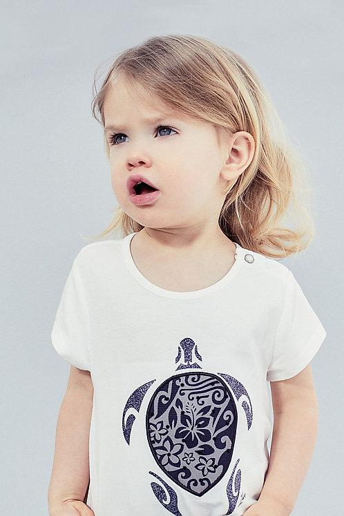 Tee-shirt blanc cassé avec tortue coton bio bébé fille