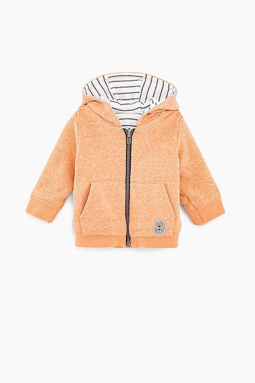 Cardigan réversible orange et blanc rayé bébé garçon