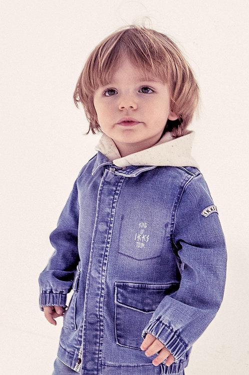 Saharienne jean light blue capuche coton bio bébé garçon