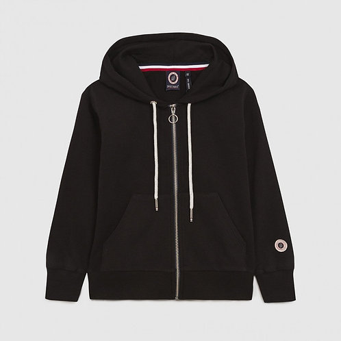 TERRY KID ZIP UP HOOD BLACK