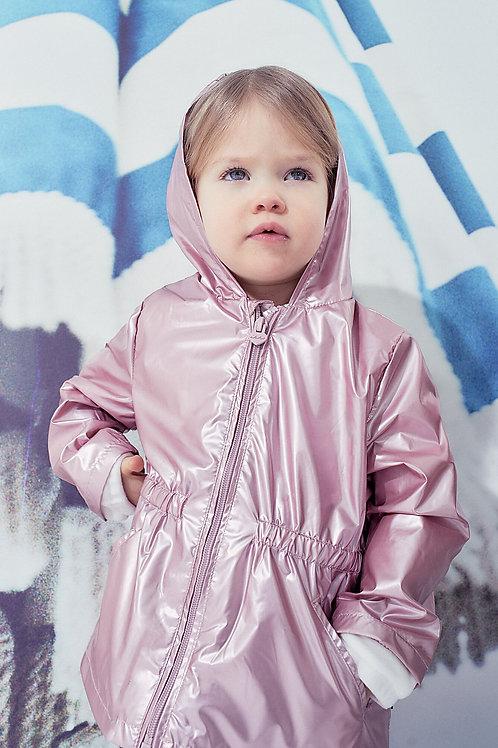 Trench rose pâle irisé doublé et recyclé bébé fille