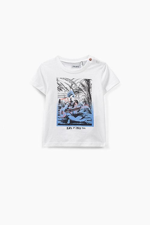 Tee-shirt blanc dromadaire-rockeur coton bio bébé garçon