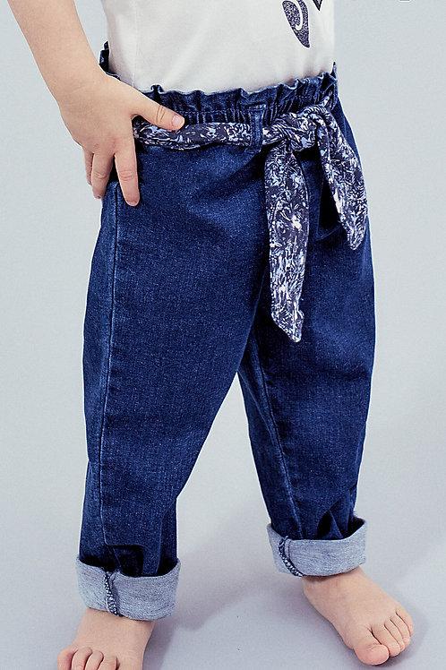 Jean medium blue à ceinture fleurs coton bio bébé fille