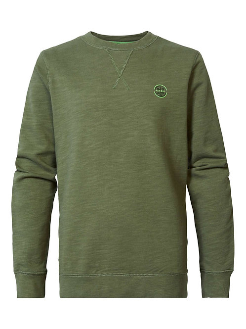 SWEAT COL ROND DUSTY ARMY