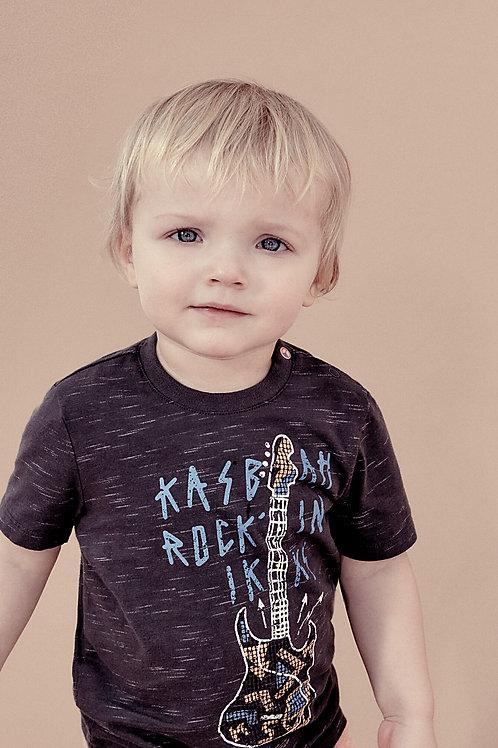 Tee-shirt noir guitare relief coton bio bébé garçon