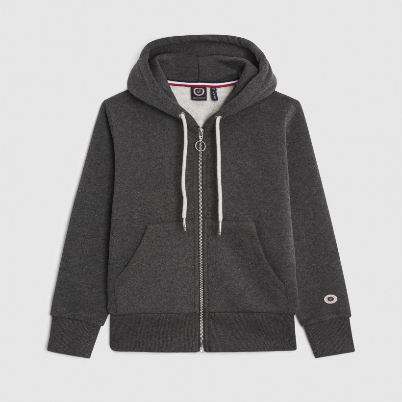 ZIP UP HOOD BLACK MARL