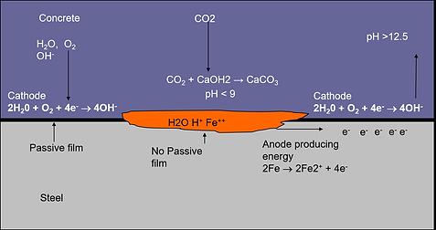 schematic diagram carbonation corrosion