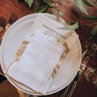 Wythe Dinner Menu on place setting