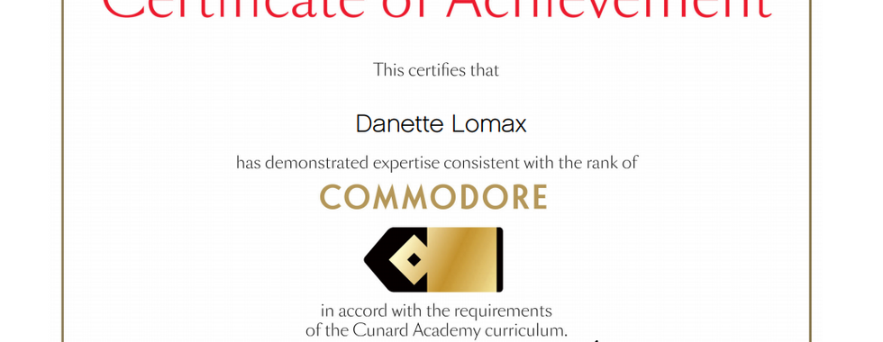 Certified with Cunard