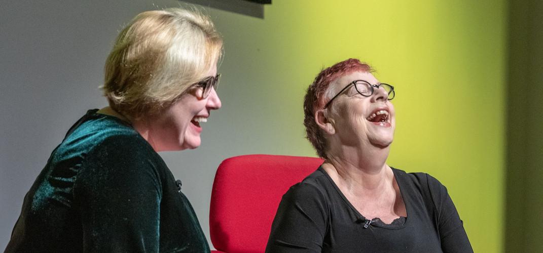 Alex Clark laughs with Jo Brand