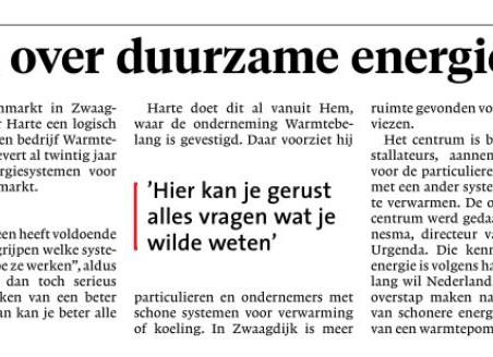 Artikel Dagblad voor West-Friesland over opening Kenniscentum